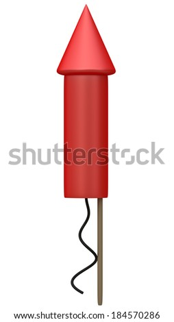 Red fireworks rocket isolated on white background High resolution 3D image  - stock photo