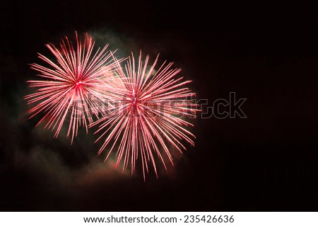 Red fireworks with copy space - stock photo