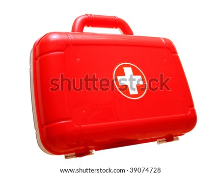 Red first aid kit bag isolated