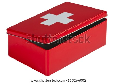 Red first aid kit isolated on white background - stock photo