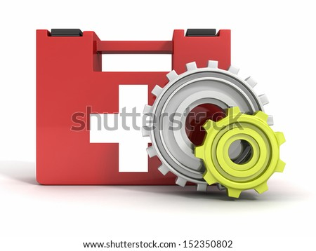 red first aid medical kit with gears - stock photo