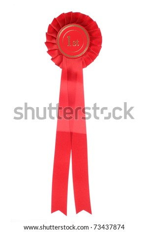 red first place rosette studio cutout - stock photo