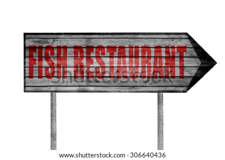 Red Fish Restaurant wooden sign isolated on white - stock photo