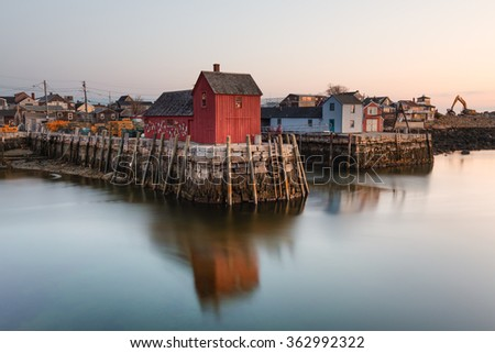 """Red fishing shack , known as 'Motif no. 1"""" in Rockport, Massachusetts, USA - stock photo"""
