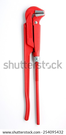 Red fitter key isolated on white - stock photo