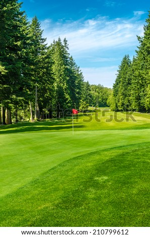 Red flag at the beautiful golf course in a sunny day. Canada, Vancouver. - stock photo