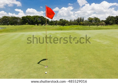 Red flag at the beautiful golf course of golf course