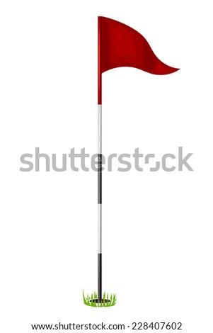 Red flag in the hole. Golf. Isolated on white background. Raster copy. - stock photo