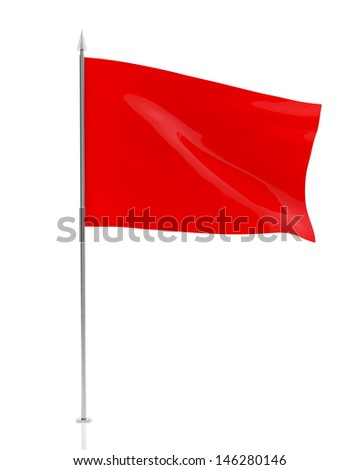 Red Flag Isolated on White Background