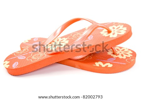 red flip flops isolated on white background. - stock photo