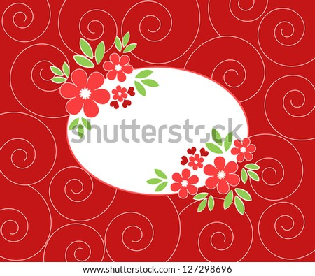 Red floral frame on spiral background - stock photo