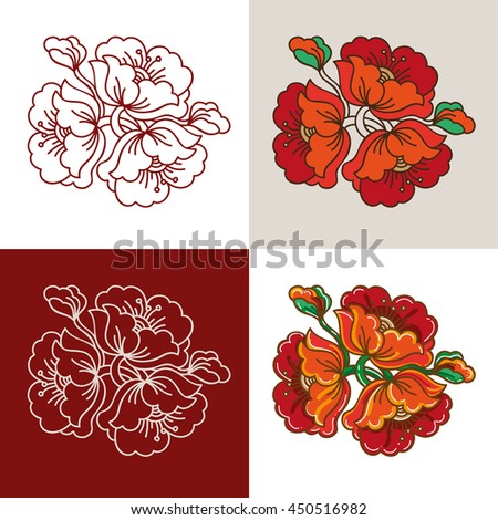 Red Flower Russian Classic Ornament element illustration