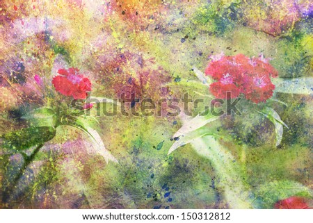 red flowers and abstract watercolor splatter - stock photo