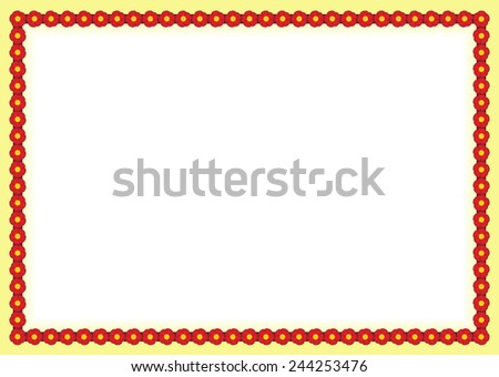 Red flowers frame - stock photo