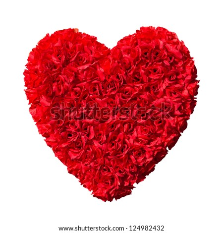 red flowers heart - stock photo