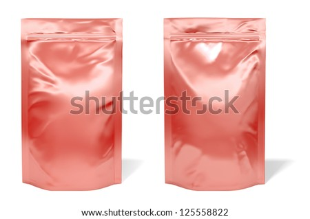 Red foil bag package isolated on white background - stock photo