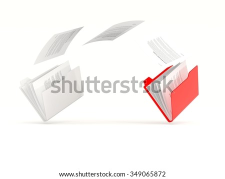 Red folder in a row isolated on white - stock photo