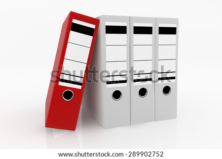 Red folder standing out from white folders arrange on white background - database storage concept.