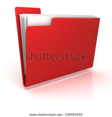 red folder with documents