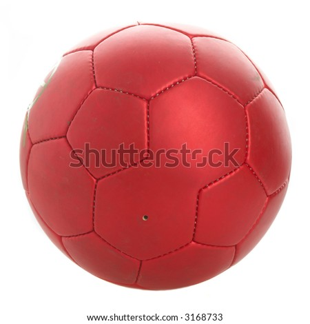 Red football on a white background.