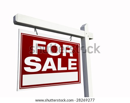 Red For Sale Real Estate Sign Isolated on White. - stock photo
