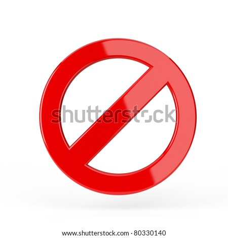 Red forbidden sign. 3d render illustration - stock photo