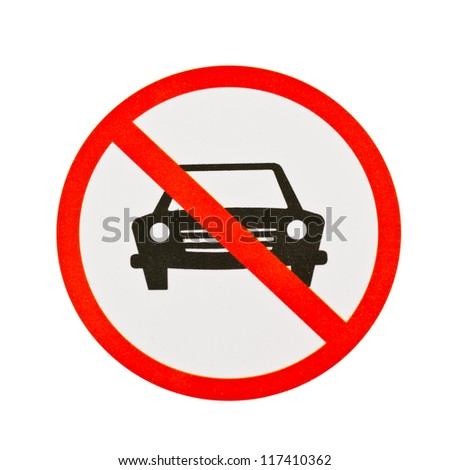 Red forbidden traffic sign on white with clipping path. - stock photo