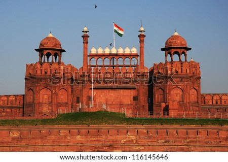 Red Fort in old Delhi, India - stock photo