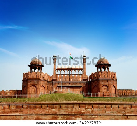 Red Fort is a 17th century fort complex constructed by the Mughal emperor Shah Jahan in the walled city of Delhi that served as the residence of the Imperial Family of India. - stock photo