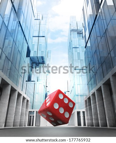 red fortune dice in new modern business city street illustration - stock photo