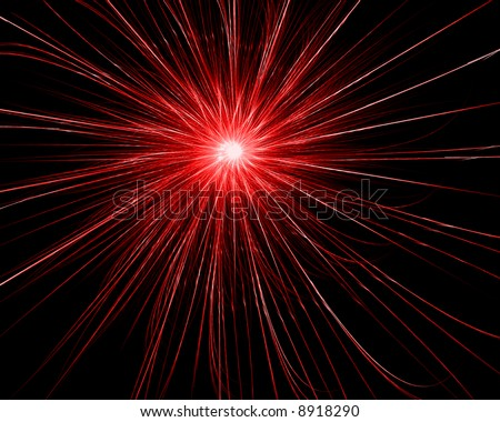 Red Fractal Circle on Black Background - stock photo