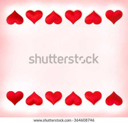 Red frame of hearts on a abstract background with space for text