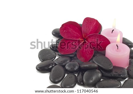 Red frangipani flower and pink candle on black stone, spa concept