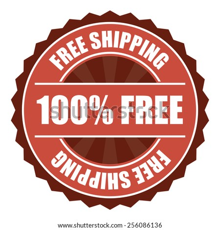 red free shipping 100% free icon, tag, label, badge, sign, sticker isolated on white  - stock photo