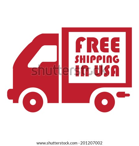 Red Free Shipping in USA Icon or Label Isolated on White Background - stock photo