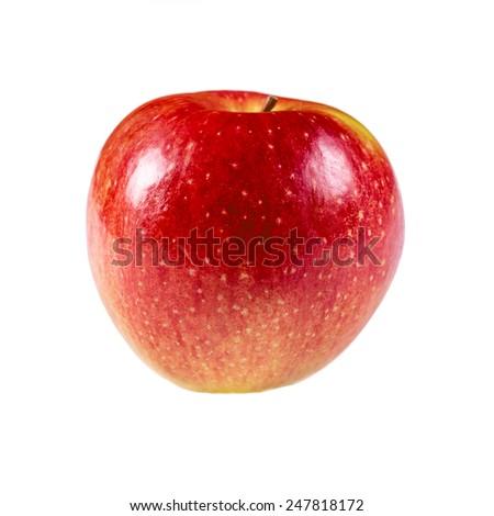 Red fresh apple isolated on white background - stock photo