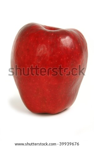 red  fresh apple on white background