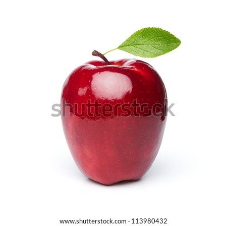 Red fresh apple with green leaf isolated on white background - stock photo