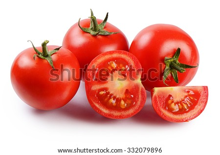 Red fresh tomatoes isolated on white background - stock photo