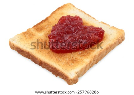 Red fruit jam.Red heart symbol on toast, isolated,closeup, white background.Love concept.Good morning breakfast. Love message, valentines day, sweet heart. - stock photo