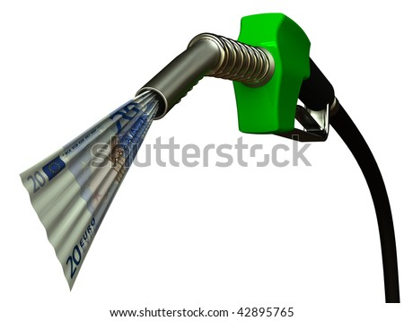 Red fuel nozzle with 20 Euro on white background