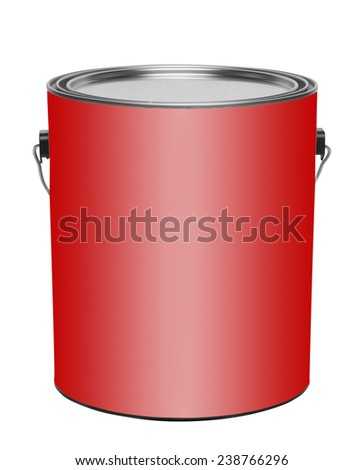 Red gallon paint can, isolated - stock photo