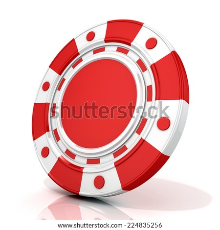 Red gambling chip. 3D render isolated on white - stock photo