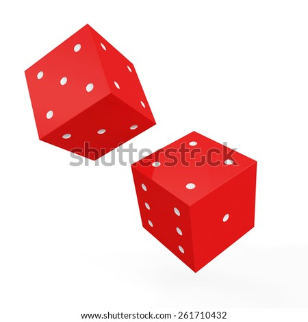 Red game dices with white dots isolated on white background - stock photo