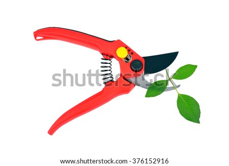 Red garden pruner and green leaf, isolated on a white background - stock photo