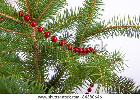 red garland hung on christmas tree - stock photo
