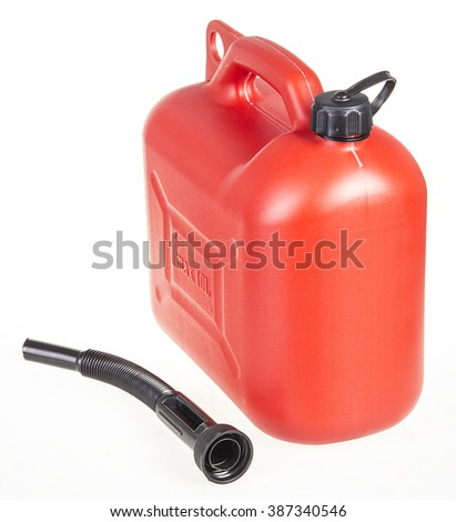 Red Gasoline Container Isolated/ red gasoline container isolated on white