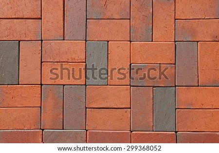 Red German Ceramic Clinker Pavers. Floor pavers in a path, detail of a pavement to walk, textured background - stock photo