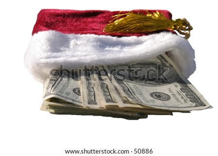 red gift bag stuffed with MONEY!!!!!!!!!!! - stock photo