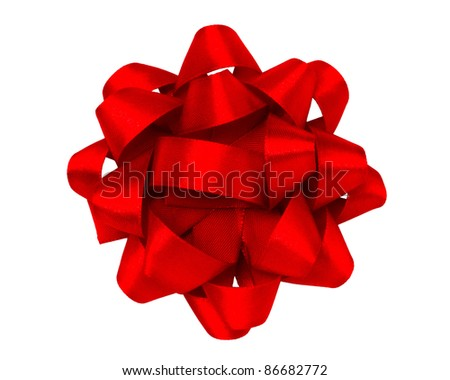 red gift bow - stock photo